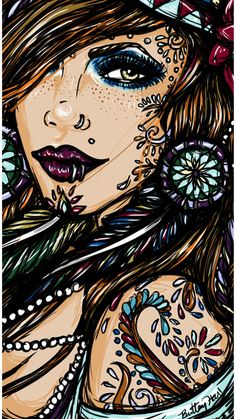 Hippie Gypsy Girl Pin Up Print 9 by 16  on Satin Paper Dreamcatchers Bohemian girlie chic