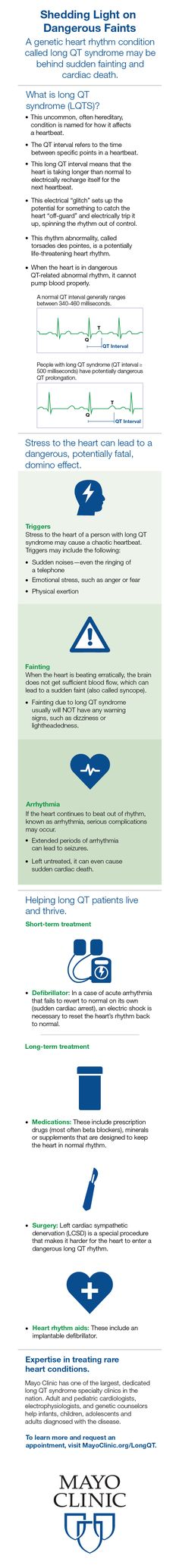 A genetic heart rhythm condition called long QT syndrome may be behind sudden fainting and cardiac death.