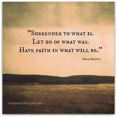surrender to what it. let go of what was. have faith in what will be.