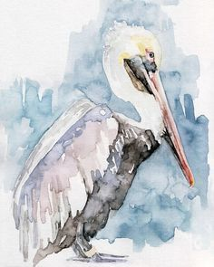 "Pelican Painting - Print from Original Watercolor Painting, ""The Fish Catcher"", Beach Decor, Blue Sea"