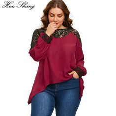 4XL 5XL Plus Size Chiffon Blouse Women Summer O Neck Long Sleeve Lace  Floral Hollow Out Sexy Blouse Irregular Tunic Ladies Tops 9b9bbb4d8f2d