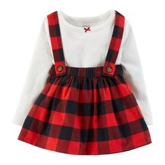 Carter's Baby Girls Bodysuit & Plaid Suspender Skirt Set - August 24 2019 at Baby Girl Fashion, Toddler Fashion, Toddler Outfits, Baby Boy Outfits, Kids Outfits, Kids Fashion, Fashion Clothes, Dress Clothes, Toddler Girl Christmas Outfits