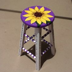Re-painted stool...this would make me smile every time I looked at it!  love it :)  in blue of course