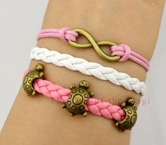 Little Turtle, Tortoise  Infinity Bracelet in Bronze - Korean Cashmere and Leather Braid Bracelet - Friendship Gift - Customize Bracelets