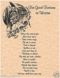FOR GOOD FORTUNE IN WINTER Real Witchcraft Spell Book of Shadows Page BOS Pages