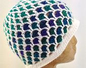 Crochet White and Multiple Ocean Shades of Blue, Green and Purple, Textured Crochet Beanie Hat for Women, Tweens, Teens