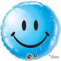 Ballon Mylar Smiley Bleu
