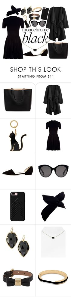 """""""Black"""" by emily-fey ❤ liked on Polyvore featuring Thom Browne, Alexander Wang, Giorgio Armani, Gucci, Rebecca Minkoff, Lulu in the Sky, Kendra Scott, Mulberry and allblackoutfit"""