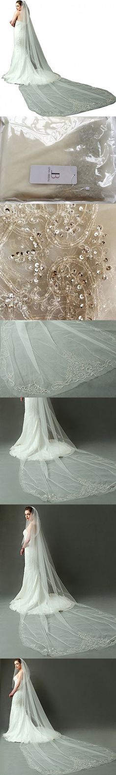 "LynnBridal Royal Length Wedding Veil with Vintage Beaded Motif 157"" Long Ivory"