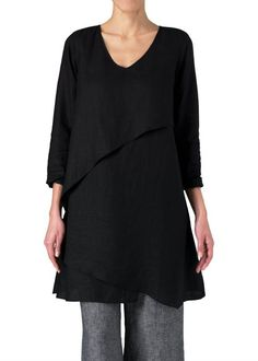 2ca1d01c0e Vivid Linen Layering V-neck Tunic-XS-Black at Amazon Women s Clothing store