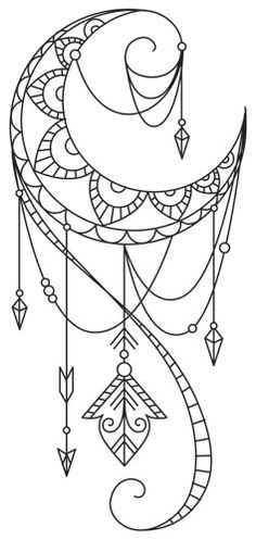 Talisman - Draping Crescent | Urban Threads: Unique and Awesome Embroidery Designs