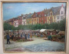 """""""Markt am Gutenbergplatz in Karlsruhe"""" von Max Eichin, Öl auf Leinwand, 1928"""