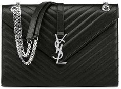 Saint Laurent Monogram Matelasse Chain-Strap Shoulder Bag, Black