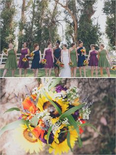 green, navy and purple bridesmaid dresses with bright sunflower bouquet http://www.weddingchicks.com/2013/09/25/rustic-summer-wedding/
