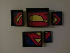Superman poster, divided up, put into a nested frame set. #superman #dc #diy