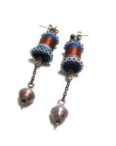 OOAK Fabric Earrings handmade textile beads by perlinedisaggezza, €25.00