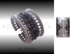 Black Lily Beautiful cuff in cubic RAW. German tutorial with pictures begins slide 25