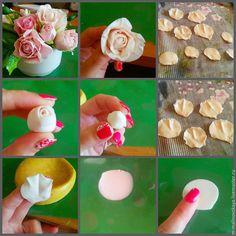 Итак, мы будем лепить кустовую розочку! 1. Для начала в полупрозрачную глину вмешиваем белую и розовую краску (чуть-чуть) — цвет станет ярче на три тона после высыхания. Смазываем руки и папку маслом подсолнечным или джонсонс бейби. Формируем каплю 4 см и кладем в папку, проглаживаем придавая форму воздушного шара. Делаем тонкий край, сильно давя пальчиком.