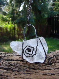 Raw Quartz Crystal Necklace Jewelry Gypsy Jewelry Healing Crystal Necklace Raw…