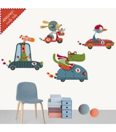 vinilo infantil de tela coches felices