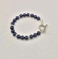Night blue swarvoski crystal pearl bracelet 8mm by Jewelrybydawn1