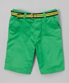 Look at this #zulilyfind! Green Flat Front Shorts & Belt - Toddler & Boys by IZOD #zulilyfinds