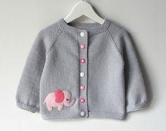 Pink elephant sweater silver grey baby girl jacket merino wool baby cardigan MADE TO ORDER