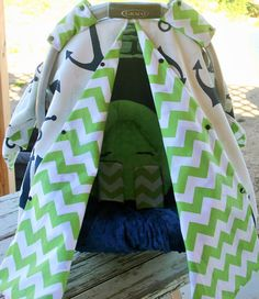navy blue anchors w lime green chevron back Infant Car Seat Canopy Cover Canopy Cover, Green Chevron, Anchors, Making Out, Baby Car Seats, Infant, Lime, Navy Blue, Safety