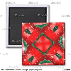 Red and Green Sparkle Design 2 Inch Square Magnet