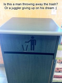 A juggler giving up on his dream.