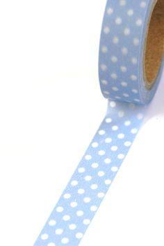 1 Roll of Light Blue and White Polka Dots Masking Tape / Japanese Washi Tape (.60 inches x 33 feet). $4.00, via Etsy seller Bahana Splits Boutique.