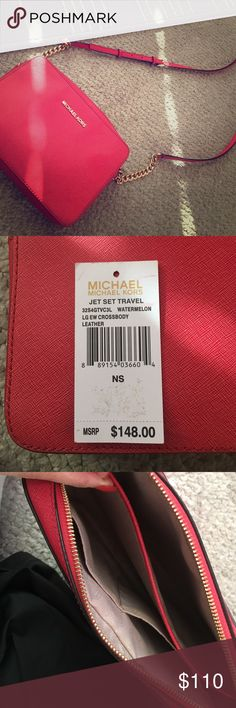 Michael kors jet set travel Lots of life left in this bag. Great for on the go. Color is in watermelon Michael Kors Bags