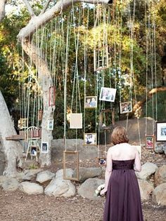 Love these! I must get married in the woods somewhere to hang lights and pictures from everywhere.