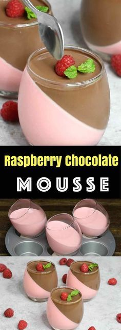 Raspberry And Chocolate Mousse – looks so elegant with two layers and tastes so delicious that you won't believe how easy it is to make! Creamy, rich and smooth dessert topped with fresh raspberry and mint. All you need is some simple ingredients: raspberry jello, whipped cream, gelatin, heavy cream, sugar and chocolate. Wow your guest with this refreshing dessert at your next party! No bake, and easy dessert. Video recipe.