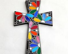 Mosaic Wall Cross Abstract Modern Art Black by GreenBananaMosaicCo