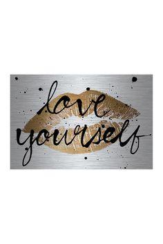 Love Yourself Gold Lips Aluminum Wall Art