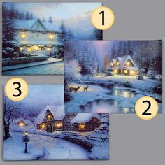 Battery Operated Lit Canvas Christmas Scene with 6 LED Lights