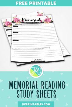 Free Memorial Bible Reading Study Sheets - JW Printables