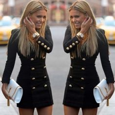 Fashion Round Neck Long Sleeve Double-breasted Slim Fit Dress