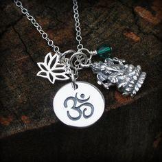 Ganesha Halskette - Sterlingsilber Ganesh Charm Halskette. Yoga Schmuck. Personalisiert. Birthstone Halskette