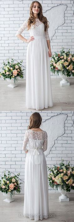 Trendy A-line Wedding Dress, Scoop Neck Chiffon Bridal Dresses, White Long Bridal Gowns, Beach Lace Wedding Dress, Garden 1/2 Sleeve Wedding Dresses