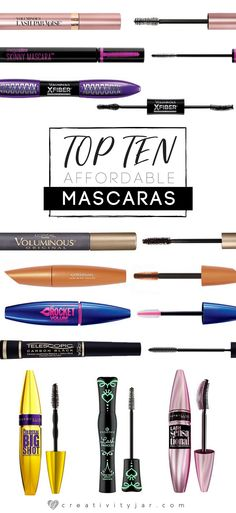 Looking for an affordable mascara? This top ten list is sure to have an option for you. Get amazing lashes with an affordable price tag. Best Drugstore Mascara, Best Mascara, Makeup Hacks Videos, Makeup Tips, Makeup Ideas, Beauty Skin, Beauty Makeup, Beauty Tips, Eye Makeup