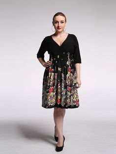 Women's Beach / Plus Size Vintage / Boho Swing Dress,Print V Neck Knee-length ¾ Sleeve Black Rayon / Polyester Summer - USD $18.99 ! HOT Product! A hot product at an incredible low price is now on sale! Come check it out along with other items like this. Get great discounts, earn Rewards and much more each time you shop with us!