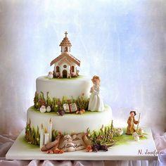 Neli Josefsen (Nelka) - Мастер-классы по украшению тортов Cake Decorating Tutorials (How To's) Tortas Paso a Paso First Communion Cakes, Première Communion, Fondant Cakes, Cupcake Cakes, Religious Cakes, Cake Works, Painted Cakes, Dream Cake, Cake Decorating Tutorials