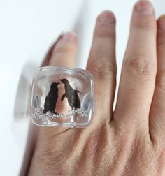 Ice Cube Shivering Penguin Resin Ring by zougeebean on Etsy, $32.00