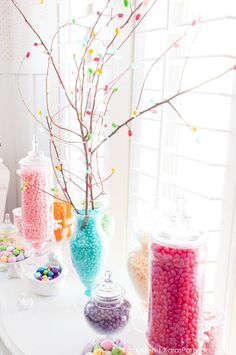 DIY Spring Blossom Jelly Belly Bean Branches Centerpiece + Easter Dessert Table by Kara Allen | Kara's Party Ideas | KarasPartyIdeas.com for Jelly Belly Candy Company