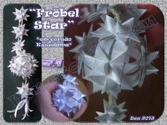 """Kusudama com a tradicional """"Fröbel Star"""". Origami, Paper Crafts, Gift Wrapping, Stars, Gifts, Traditional, Gift Wrapping Paper, Presents, Tissue Paper Crafts"""
