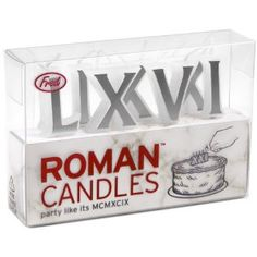 Roman numeral birthday candles~ much more elegant than 42 pesky little single candles ;-) ~Fred and Friends Roman Candles Birthday Candles $5.36
