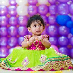 Cute Baby in Green Kundan Lehenga
