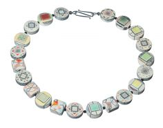 """KAREN THUESEN MASSARO NECKLACE 15, FRONT OF BEADS SHOWN Porcelain, hollow, reversible beads, onyx spacer beads, sterling silver clasp  23.5"""" x 1.125"""" x .5"""" Porcelain, Sterling Silver, Beads, Gallery, Bracelets, Artist, Jewelry, Beading, Porcelain Ceramics"""
